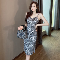 Dress Spring 2021 grey S M L Mid length dress singleton  Sleeveless commute V-neck High waist Decor zipper One pace skirt other camisole 25-29 years old Type X Ya makeup Korean version Open back zipper print DXH418AYJR-633# 91% (inclusive) - 95% (inclusive) other polyester fiber