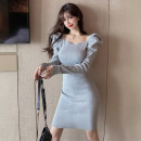 Dress Spring 2021 Light grey black red rose One size fits all Short skirt singleton  Long sleeves commute Crew neck High waist Solid color Socket One pace skirt puff sleeve Others 25-29 years old Type X Ya makeup Korean version Fold splicing YYM - five thousand three hundred and forty-nine # knitting