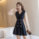 Dress Spring 2021 black S M L XL Short skirt singleton  Long sleeves commute tailored collar High waist Dot double-breasted A-line skirt pagoda sleeve Others 25-29 years old Type A Ya makeup Korean version Button mesh stitching HMGYHD-713 51% (inclusive) - 70% (inclusive) other polyester fiber