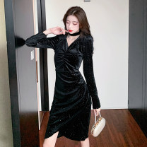 Dress Spring 2021 black S M L XL Mid length dress singleton  Long sleeves commute V-neck High waist Solid color Socket Irregular skirt routine Hanging neck style 25-29 years old Type X Ya makeup Korean version Fringes cut-out inlaid diamond chain fold splicing asymmetry TCWP--8085# other