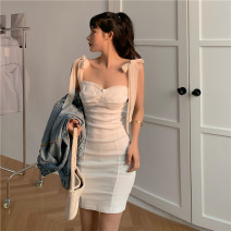 Dress Summer 2021 White black S M Short skirt singleton  Sleeveless commute One word collar High waist Solid color Socket One pace skirt other camisole 25-29 years old Type X Ya makeup Korean version Butterfly dew back fold stitching bandage 51% (inclusive) - 70% (inclusive) other polyester fiber