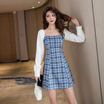 Dress Spring 2021 Blue check S M L XL Short skirt singleton  Long sleeves commute square neck High waist lattice zipper A-line skirt routine Others 25-29 years old Type A Ya makeup Korean version Open back stitching 51% (inclusive) - 70% (inclusive) other polyester fiber Polyester 55% other 45%