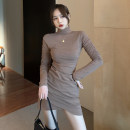 Dress Spring 2021 Black Khaki One size fits all Short skirt singleton  Long sleeves commute High collar High waist Solid color Socket Irregular skirt routine Others 25-29 years old Type X Ya makeup Korean version Fold splicing asymmetry LuSa-9710 51% (inclusive) - 70% (inclusive) other