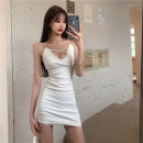 Dress Summer 2021 White black One size fits all Short skirt singleton  Sleeveless commute V-neck High waist Solid color Socket One pace skirt other camisole 25-29 years old Type X Ya makeup Korean version Open back pleated lace Lan Lan-661# 51% (inclusive) - 70% (inclusive) other polyester fiber