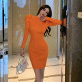 Dress Spring 2021 orange S M L Short skirt singleton  Long sleeves commute Half high collar High waist Solid color Socket One pace skirt puff sleeve Others 25-29 years old Type X Ya makeup Korean version Fold splicing XWFC-2030# 51% (inclusive) - 70% (inclusive) knitting polyester fiber