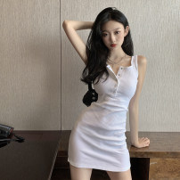 Dress Summer 2021 White black S M L Short skirt singleton  Short sleeve commute Crew neck High waist Solid color Single breasted One pace skirt other camisole 25-29 years old Type X Ya makeup Korean version Pleated button XMN-1814- 51% (inclusive) - 70% (inclusive) other polyester fiber