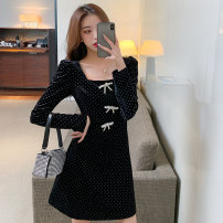 Dress Spring 2021 black S M L XL Short skirt singleton  Long sleeves commute square neck High waist Dot zipper A-line skirt routine Others 25-29 years old Type A Ya makeup Korean version Open back pleated print with bow and diamond XYF-6030# 51% (inclusive) - 70% (inclusive) other polyester fiber