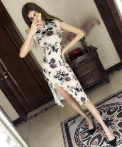 Dress Summer 2021 Decor S M L XL Mid length dress singleton  Sleeveless commute stand collar High waist Decor A button One pace skirt other Others 25-29 years old Type X Ya makeup Korean version Pleated button lace print FHJR-- 9052# 51% (inclusive) - 70% (inclusive) other polyester fiber