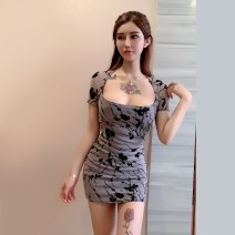 Dress Summer 2021 Gray blue One size fits all Short skirt singleton  Short sleeve commute square neck High waist Decor Socket One pace skirt routine Others 25-29 years old Type X Ya makeup Korean version Pleated print MW --  six thousand and one # 51% (inclusive) - 70% (inclusive) other cotton