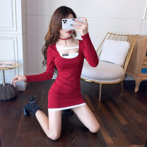 Dress Spring 2021 Red and black S M L XL Short skirt singleton  Long sleeves commute square neck High waist other Socket One pace skirt routine Others 25-29 years old Type X Ya makeup Korean version Hollow diamond mosaic A11--7631# 91% (inclusive) - 95% (inclusive) other cotton