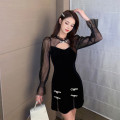 Dress Spring 2021 black S M L Short skirt singleton  Long sleeves commute stand collar High waist Solid color zipper One pace skirt bishop sleeve Others 25-29 years old Type A Ya makeup Korean version Bowknot cut-out diamond inlaid pleated stitching gauze SHSHSPG-3358# other polyester fiber