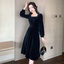 Dress Spring 2021 black S M L XL Mid length dress singleton  Long sleeves commute square neck High waist Solid color Socket Big swing routine Others 25-29 years old Type A Ya makeup Korean version Splicing TCWP--8077# 51% (inclusive) - 70% (inclusive) other polyester fiber Polyester 55% other 45%