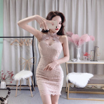 Dress Spring 2021 Apricot black S M Short skirt singleton  Sleeveless commute V-neck High waist Solid color zipper One pace skirt other Hanging neck style 25-29 years old Type X Ya makeup Korean version 51% (inclusive) - 70% (inclusive) Lace polyester fiber Polyester 55% other 45%