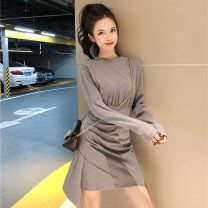 Dress Spring 2021 Black gray orange One size fits all Short skirt singleton  Long sleeves commute Crew neck High waist Solid color Socket Irregular skirt routine Others 25-29 years old Type X Ya makeup Korean version Fold splicing asymmetry YYM-5351# 51% (inclusive) - 70% (inclusive) other