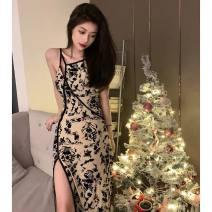 Dress Summer 2021 Picture color S M L XL Mid length dress singleton  Sleeveless commute Slant collar High waist Decor Socket One pace skirt other camisole 25-29 years old Type X Ya makeup Korean version Cut out pleated print SSQ- 6833 51% (inclusive) - 70% (inclusive) other polyester fiber