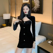 Dress Spring 2021 black S M L Short skirt singleton  Long sleeves commute V-neck High waist Solid color zipper One pace skirt routine Hanging neck style 25-29 years old Type X Ya makeup Korean version Pleated button YASFS-9076 51% (inclusive) - 70% (inclusive) other polyester fiber