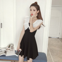 Dress Summer of 2019 Black and white S M L XL 2XL Short skirt singleton  Sleeveless commute V-neck middle-waisted other zipper Princess Dress Flying sleeve Others 18-24 years old Type A Ya makeup lady Splicing YFFSSPD 51% (inclusive) - 70% (inclusive) other polyester fiber Polyester 55% other 45%