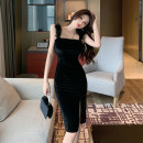Dress Spring 2021 black S M L Short skirt singleton  Sleeveless commute One word collar High waist Solid color zipper One pace skirt other camisole 25-29 years old Type X Ya makeup Korean version Open back fold splicing XWFC-2028# 51% (inclusive) - 70% (inclusive) other polyester fiber