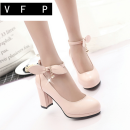 Low top shoes 35 36 37 38 39 VFP Pink off white black Round head PU Thick heel High heel (5-8cm) Shallow mouth PU Spring 2020 Flat buckle Sweet Adhesive shoes Youth (18-40 years old) Solid color rubber Mary Jane shoes Buckle bow tie water drill waterproof platform foot ring bandage PU leisure time