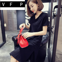 Dress Summer of 2019 black M L XL 2XL 3XL 4XL longuette singleton  Short sleeve commute Crew neck Loose waist Solid color Socket other routine Others 18-24 years old Type H VFP Korean version 5vK3wg More than 95% other Triacetate fiber (triacetate fiber) 100%