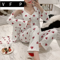 Pajamas / housewear set female VFP M [70-95 kg] l [95-115 kg] XL [115-135 kg] XXL [135-150 kg] Polyester (polyester) Long sleeves Sweet pajamas spring Thin money V-neck heart-shaped trousers double-breasted youth 3 pieces rubber string More than 95% pure cotton printing 57# Cotton 100% Spring 2020