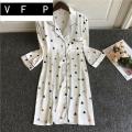 Nightdress VFP L XL heart-shaped V-neck Polyester (polyester) Summer 2020 Triacetate fiber (triacetate fiber) 100% Triacetate fiber (triacetate fiber) 100%