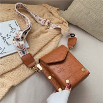 Bag Inclined shoulder bag PU Small square bag brand new European and American fashion Small leisure time soft Magnetic buckle no Solid color Single root Straddle shoulder nothing youth Square box Sewing Soft handle inside pocket with a zipper soft surface Spring 2021