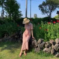 Dress Summer of 2019 Pre sale of powder lattice XS,S,M,L Mid length dress singleton  Short sleeve Sweet Doll Collar High waist Single breasted A-line skirt Type A