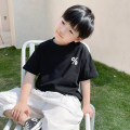 T-shirt White, black, white pre-sale, black pre-sale Le Yue Lue 80cm,90cm,100cm,110cm,120cm,130cm,140cm male summer Short sleeve Crew neck leisure time There are models in the real shooting nothing cotton printing 212TX017 Sweat absorption Two, three, four, five, six, seven, eight, nine
