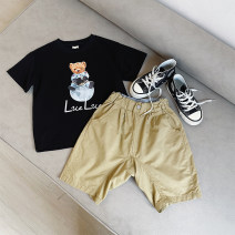 T-shirt Black, black pre-sale Le Yue Lue 80cm,90cm,100cm,110cm,120cm,130cm,140cm male summer Short sleeve Crew neck college There are models in the real shooting nothing cotton printing 212TX011 Sweat absorption Two, three, four, five, six, seven, eight, nine Chinese Mainland Zhejiang Province