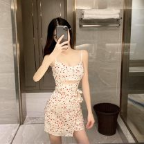 Dress Summer 2020 Lotus and champagne S M L Short skirt singleton  Sleeveless commute V-neck middle-waisted zipper camisole 18-24 years old Lanoza Korean version More than 95% other Triacetate fiber (triacetate fiber) 100%