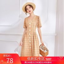 Dress Summer 2021 XS,S,M,L Mid length dress singleton  Short sleeve commute V-neck Loose waist lattice zipper A-line skirt routine Others 18-24 years old Type X Qiao Li Korean version Button More than 95% other polyester fiber