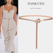 Belt / belt / chain Double skin leather Caramel grey apricot Khaki white pink red coffee black female Versatile Single loop Glossy surface 1cm alloy Fonkvxn / wind dancing dust 69894-4540144 Spring 2021