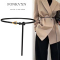 Belt / belt / chain top layer leather Coffee 100cm coffee extended 123cm Khaki 100cm Khaki extended 123cm black 100cm black extended 123cm female Versatile 1cm Fonkvxn / wind dancing dust 235896-1650122 Spring 2021