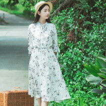 Dress Summer of 2019 Color 1 color 2 XS S M L XL Mid length dress singleton  elbow sleeve Sweet Crew neck High waist Broken flowers Socket Princess Dress pagoda sleeve Others 18-24 years old Type A Han Xuanwei Lace up printing HXW1601 More than 95% other other Other 100% Mori