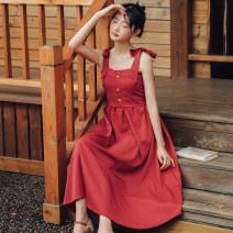 Dress Summer of 2019 S M L Mid length dress singleton  Sleeveless Sweet other High waist Solid color Socket Princess Dress other straps 18-24 years old Han Xuanwei Lace up button More than 95% other other Other 100% Mori Pure e-commerce (online only)