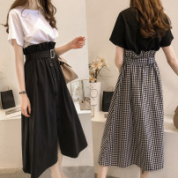 Women's large Summer 2020 White T + black skirt, black T + plaid skirt Large XL, large XXL, large XXL, large XXXXL, large L, M Two piece set commute easy thin Socket Short sleeve lattice Crew neck routine Three dimensional cutting routine Other / other belt Medium length other