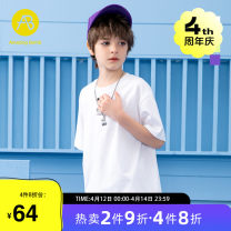 T-shirt White blue green purple AB (mother infant) 110cm 120cm 130cm 140cm 150cm 160cm male summer Short sleeve Crew neck leisure time There are models in the real shooting nothing cotton letter Cotton 100% T-A212-002802 Class B Summer 2021