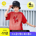 T-shirt gules AB (mother infant) 110cm 120cm 130cm 140cm 150cm 160cm male summer Short sleeve Crew neck leisure time There are models in the real shooting nothing cotton flower Cotton 100% Class B Summer 2021