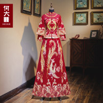 cheongsam Winter of 2019 S M L XL 2XL 3XL 4XL 5XL Women's and men's Retro wedding 18-25 years old Embroidery HDX-201911119-4 He Dazhi other New polyester 99% other 1% Pure e-commerce (online only)