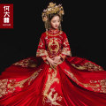 cheongsam Summer of 2018 6xl s M L XL 2XL 3XL 4XL 5XL you can make up the difference by 20 yuan if you buy this link Women's and men's Long sleeves long cheongsam court No slits wedding Straight front 18-25 years old Embroidery HDX-1815 He Dazhi other Pure e-commerce (online only)