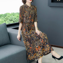 Dress Retro Other 100% Summer 2020 longuette middle-waisted singleton  elbow sleeve Crew neck commute Design and color Condom Fonze / maple A-line skirt 30-34 years old More than 95% routine other A04708 Other printing M L XL XXL 3XL
