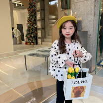 shirt Dot Shirt, black pants Other / other female 90cm,100cm,110cm,120cm,130cm,140cm spring and autumn Long sleeves Korean version Broken flowers cotton Lapel and pointed collar Other 100% other