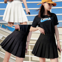 skirt Summer 2020 S M L XL 2XL 3XL Black white gray navy blue red check blue check Short skirt Sweet High waist Pleated skirt Solid color Type A 18-24 years old BMD-1576-1 other Boumanteau Pleated button zipper Pure e-commerce (online only) 201g / m ^ 2 (including) - 250G / m ^ 2 (including) college