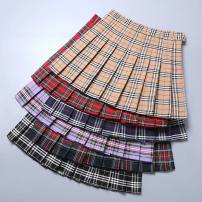 skirt Autumn 2020 XS S M L XL 2XL Purple, Navy, black and white, big red, black and green, Khaki Short skirt commute High waist A-line skirt lattice Type A 18-24 years old BMD-6855 91% (inclusive) - 95% (inclusive) Boumanteau polyester fiber Korean version Other polyester 95% 5%