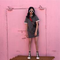 Women's large Summer 2021 Grey black M L XL T-shirt Short sleeve 0lpo Tevvini / duveno Other 100% Pure e-commerce (online only)