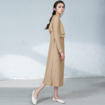 Dress Spring 2021 Camel S,M,L Mid length dress singleton  Long sleeves commute Crew neck middle-waisted Solid color Socket other routine Others 30-34 years old Type H then Simplicity Lotus leaf, Auricularia auricula, stitching 31% (inclusive) - 50% (inclusive) other wool