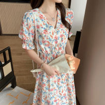 Dress Summer 2021 S M L XL Mid length dress singleton  Short sleeve Sweet V-neck High waist Broken flowers Socket A-line skirt routine Others 25-29 years old Type A printing More than 95% Chiffon polyester fiber Polyester 100% Pure e-commerce (online only)