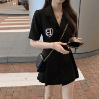 Dress Summer 2021 black S M L XL XXL Mid length dress singleton  Short sleeve commute Polo collar High waist Solid color Single breasted A-line skirt routine Others 18-24 years old Type A Ximu Korean version Embroidered pleated button XMM7069 71% (inclusive) - 80% (inclusive) other polyester fiber