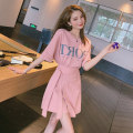 Dress Summer 2020 Pink suit S M L XL Short skirt Two piece set Short sleeve commute Crew neck High waist letter Socket A-line skirt routine Others 18-24 years old Type A Hanmchur / pure Korean version Pleated lace up printing HCZD1022 More than 95% other cotton Pure e-commerce (online only)